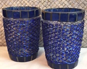 Blue Beaded Glass tea light holders set/2