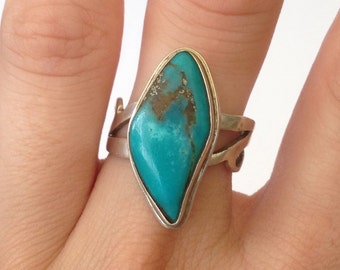 Sterling Silver & Turquoise Diamond Shaped Ring - One of a Kind - Adjustable