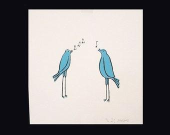 Screenprint. Birds Singing