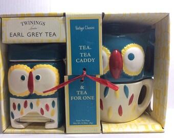 Vintage Owl Tea Pot Set