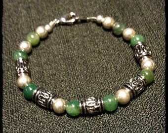 """5 1/2"""" Moss Agate with Sterling Silver Bead Bracelet"""