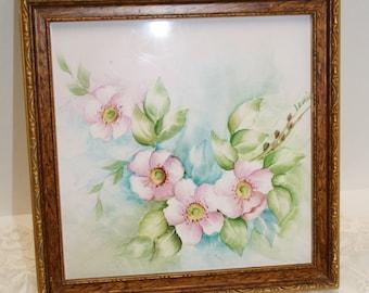 Vintage hand painted framed tile; handpainted Florentine frame ceramic tile; artist signed tile