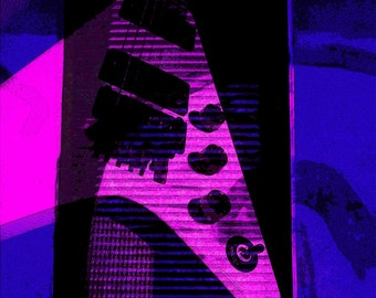 Guitar Art print, Purple Rhapsody; Wall decor, Music decor, Electric guitar, Music poster, Guitar poster