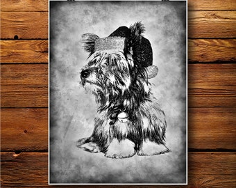 Yorkshire Terrier Print, Puppy Dog Poster, Christmas Hat decor, BW0106