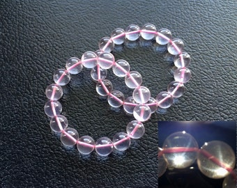 Rare AAA Quality Natural Transparent Madagascan Star Ice Rose Quartz 12MM Elastic Bracelet