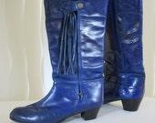 Flamenco boots. Leather-blue. Spanish campero cowboy, 10 Very rare vintage. Hand crafted Casa de Gallardo Madrid mid 1960's
