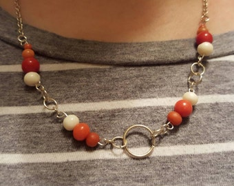 Handmade coral chain necklace