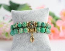 Set Bracelets Turquoise Personalized Bracelets Gold Charms Bracelet Green Bracelets Leaf Charm Letter Beaded Bracelet Gemstone Bracelets