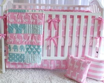 Giraffes on Pink and Teal, modern nursery, safari, elephants, giraffe,  girl nursery, crib bedding, crib set, fitted sheet, customer bedding
