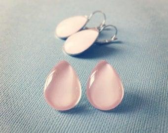 Pale Pastel Pink Glass Teardrop Earrings - Teardrop Earrings - Pink Earrings - Pastel Earrings