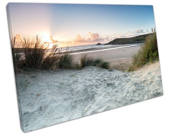 Crantock BEACH Canvas WALL ART C2550