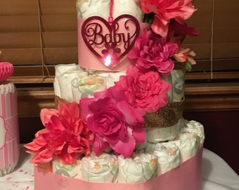 Classic pink and gold 3-tier diaper cake