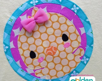 Easter Chick with bow Circle, Girl Spring Tee