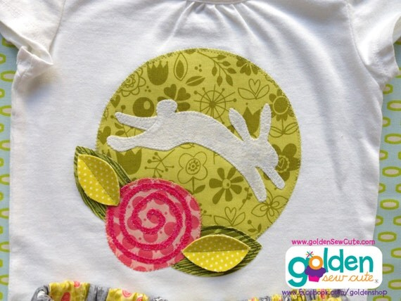 Easter Bunny Vintage Design Fabric Circle, Flower, Girl Spring Tee, Skirt also available!