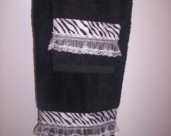 Decorative Towel Set - Black - Zebra Stripe