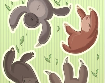 Falling Animals - Sloth Sticker Set