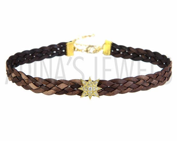 Braided Choker Brown Choker Starburst Choker Necklace Braided Necklace Leather Choker Braided Leather Necklace Boho Necklace CZ Jewelry