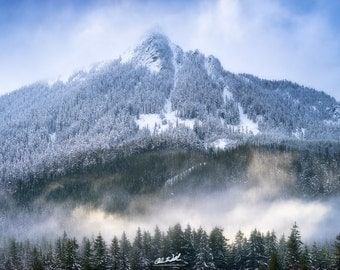 Mystique, pacific northwest, washington, wall art, sunset, mountains, foggy, fog, snow, winter, scenic, nature, landscape