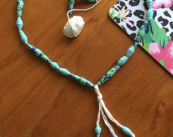 Hand Rolled Paper Bead Necklace with Tassel Teal