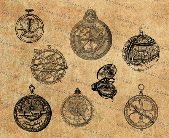 Items similar to Digital SVG PNG vintage astrolabe ...