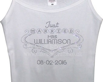 "Strapy Vest Top with Just Married & Personalised with ""Mrs Surname"" - Crystal DMC Rhinestone design"