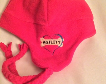 Agility, Hat, K-9 Agility, winter, hat, pink, embroidery