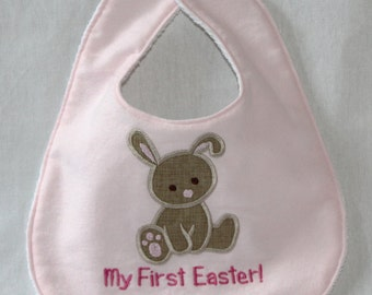 My First Easter Bunny Bib in pink - Appliqued with brown bunny!