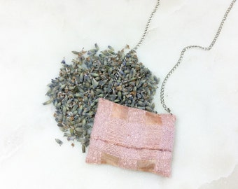 ROSÈ - scented necklace made of 100% line, silk organic lavender, Turkey filled with, scented sachets, anti-stress, relaxation, beauty, Spa, chain, design
