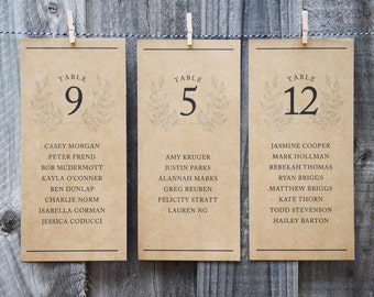 Rustic Wedding Seating Chart - Kraft Seating Plan Cards / Table Arrangement Signs