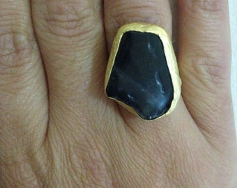 Ring, Gemstone Ring , Black Ring, Gold Filled Ring, Handmade Ring, Free Size Ring, Christmas gift, Gold Plate Ring, Gift for  Her