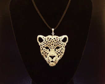 Necklace:  Large Silver Leopard Face