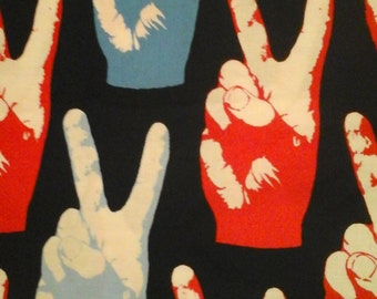 Alexander Henry Peace sign Fabric 1 Yard Cotton