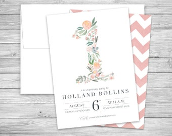 First Birthday Invitations + Envelopes, Classic Floral Baby Girl's 1st Party, Digital or Professionally Printed + SHIPPING INCLUDED