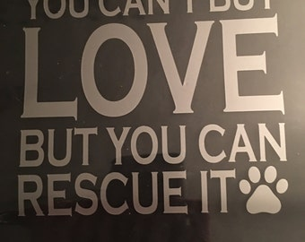 Dog rescue window sticker