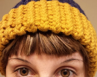 Handmade yellow and blue Loom knitted beanie hat