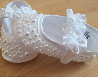 Baby Crib All Pearl Christening Shoes with rosette straps (wedding flowergirl christening communion)