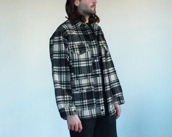 Pendleton Black and White Plaid Wool Coat