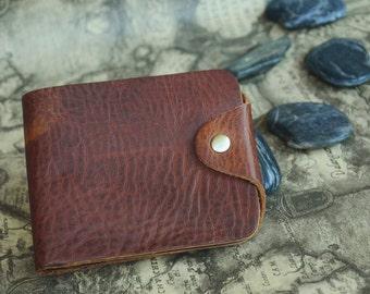 Blank Leather Wallet Mens Wallet Dark Brown Bi-fold Wallet Card Case