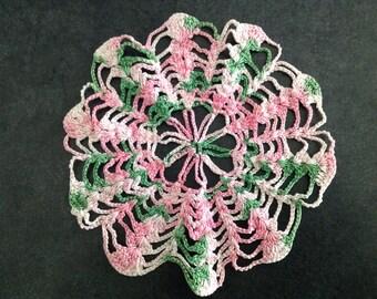Crochet Doily Handmade Craft Pink Green Flower Snowflake Seashell Star