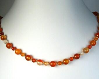 "Carnelian Agate Necklace Gold 16"""