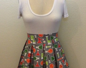 Science and Math Printed Adult High Waisted Skater Skirts