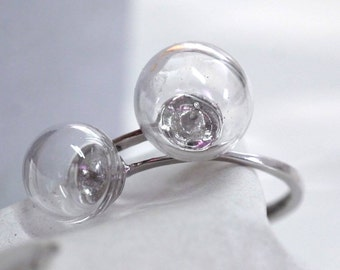Two Glass ball ring
