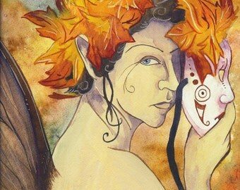 Autumn Fairy Fine Art Print // Fantasy Elemental Fall Autumn Leaves Fae Watercolor Painting by Heather Reid