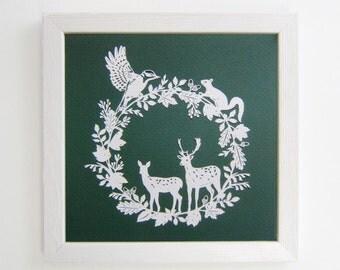 Woodland Papercut Print, Deer and Woodpecker Artwork