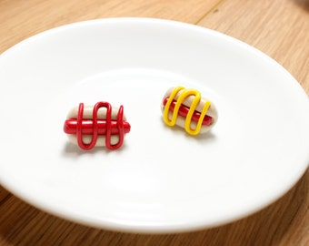 hotdog pin  polymer clay cute jewelry accessories best friends brooches mustard ketchup condiments