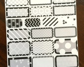 Black & White Boxes Planner Stickers