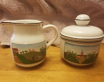 Villeroy Baoch Design Naif creamer and sugar bowl Laplau