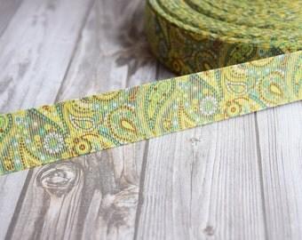 "Pretty hippy ribbon - 1"" grosgrain ribbon - 3 or 5 yard lot - Green earth tones - Paisley ribbon - Crafting ribbon - Wreath DIY"
