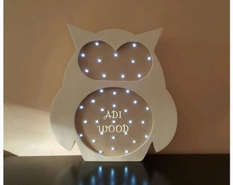 Nightlight is handmade from wood Owl