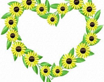 Daisy Heart Wreath -A Machine Embroidery Design